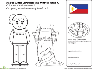 First Grade Social Studies Worksheets: Filipino Paper Doll