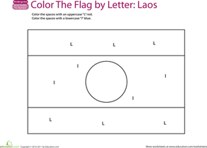 Kindergarten Reading & Writing Worksheets: Make a Color-by-Letter Flag: Laos