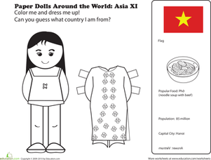 First Grade Social studies Worksheets: Paper Dolls Around the World: Vietnam