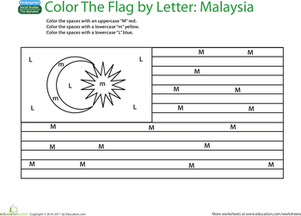 Kindergarten Reading & Writing Worksheets: Make a Color-by-Letter Flag: Malaysia