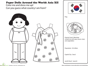 First Grade Social Studies Worksheets: Paper Dolls Around the World: Korea
