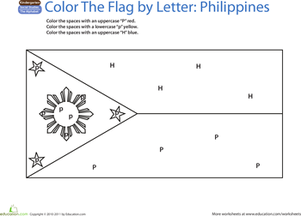World Flags Coloring Page Philippines Worksheet Educationcom