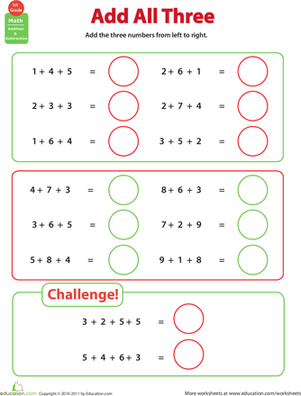 First Grade Math Worksheets: Add All Three: Adding Three Numbers