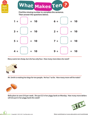 first grade math worksheets addition facts 10 - Addition Facts Worksheet
