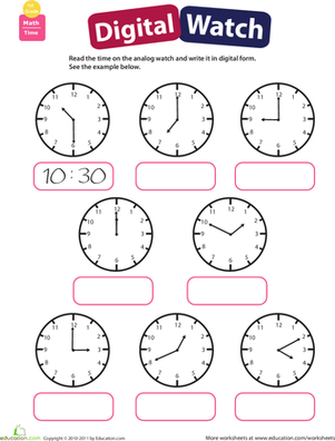 First Grade Math Worksheets: Telling Time: Practice Reading Clocks
