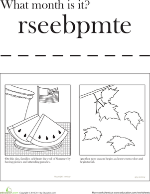 First Grade Social Studies Worksheets: Month of September