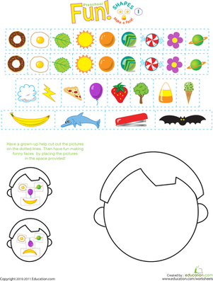 Silly Shapes Make A Face Worksheet Education Com