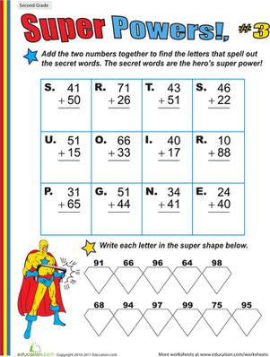 Second Grade Math Worksheets: Super Powers! Two-Digit Addition #3