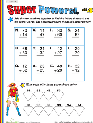 Second Grade Math Worksheets: Super Powers! Two-Digit Addition #4