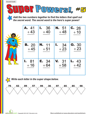 Second Grade Math Worksheets: Super Powers! Two-Digit Addition #5