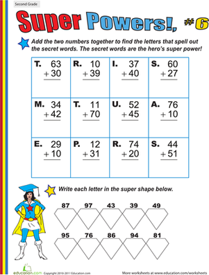 Second Grade Math Worksheets: Super Powers! Two-Digit Addition #6