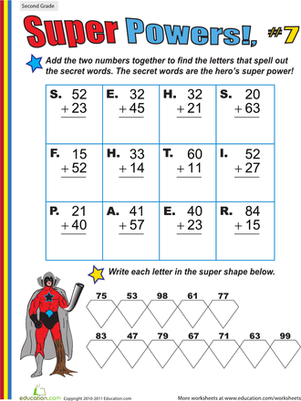 Second Grade Math Worksheets: Super Powers! Two-Digit Addition #7