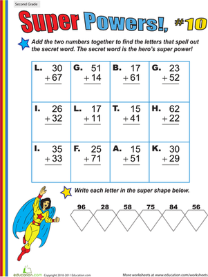 Second Grade Math Worksheets: Super Powers! Two-Digit Addition #10