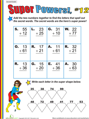 Super Powers! Two-Digit Addition #12