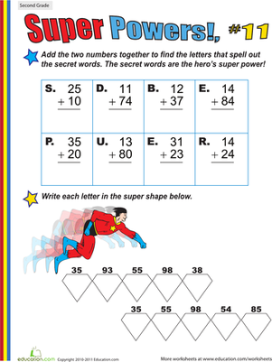Second Grade Math Worksheets: Super Powers! Two-Digit Addition #11