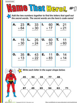 Second Grade Math Worksheets: Name That Hero! Two-Digit Addition #1