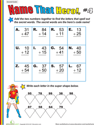 Second Grade Math Worksheets: Name That Hero! Two-Digit Addition #4