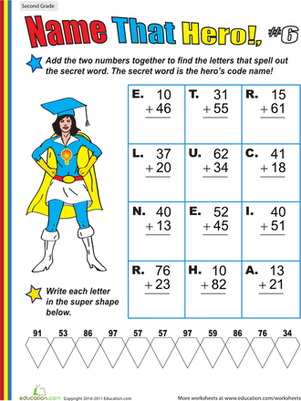 Name that Hero! Two-Digit Addition #6