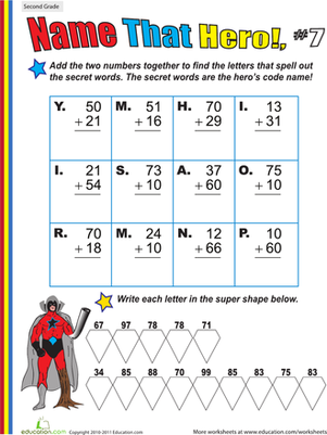 Second Grade Math Worksheets: Name That Hero! Two-Digit Addition #7