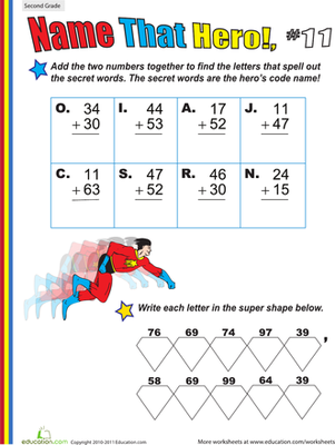 Second Grade Math Worksheets:  Name That Hero! Two-Digit Addition #11