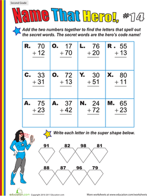 Second Grade Math Worksheets: Name That Hero! Two-Digit Addition #14