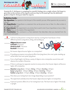 Fifth Grade Reading \u0026 Writing Worksheets: Sort Out the Scientific Method #1