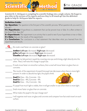Fifth Grade Reading & Writing Worksheets: Sort Out the Scientific Method #4