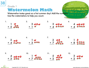 First Grade Math Worksheets: Count 'Em Up: Watermelon Addition