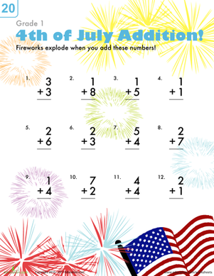 First Grade Holidays & Seasons Worksheets: Firework Addition