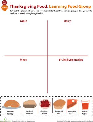 First Grade Holidays & Seasons Worksheets: Food Groups For Kids: Thanksgiving