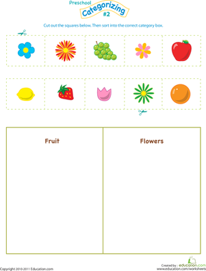 Preschool Math Worksheets: Cut and Categorize #2
