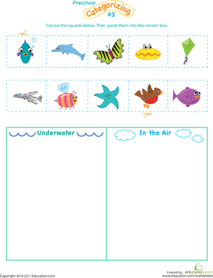 Preschool Math Worksheets: Cut and Categorize #3