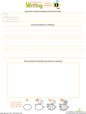 "Beginning Writing: Write a ""Bee"" Sentence 