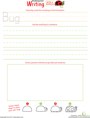 "Kindergarten Reading & Writing Worksheets: Jump Into Writing: Write a ""Bug"" Sentence"