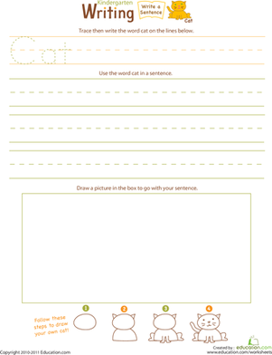 "Kindergarten Reading & Writing Worksheets: Jump Into Writing: Write a ""Cat"" Sentence"