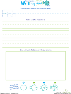 "Kindergarten Reading & Writing Worksheets: Jump Into Writing: Write a ""Fish"" Sentence"