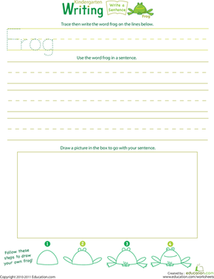 "Kindergarten Reading & Writing Worksheets: Jump Into Writing: Write a ""Frog"" Sentence"