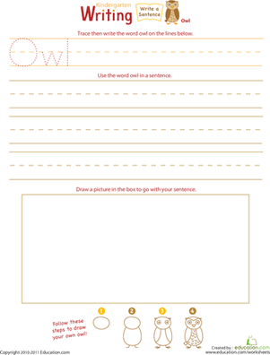 "Kindergarten Reading & Writing Worksheets: Jump Into Writing: Write an ""Owl"" Sentence"