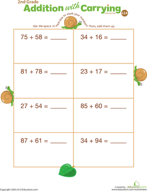 First Grade Math Worksheets: Addition with Carrying 24