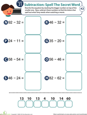 Second Grade Math Worksheets: Spell the Secret Word: Practice Subtraction 2