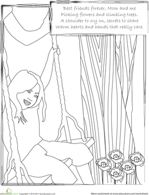 First Grade Holidays & Seasons Worksheets: Mom and Me: A Coloring Page and Rhyme for Mother's Day