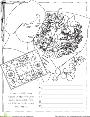 Fifth Grade Reading & Writing Worksheets: Write a Mother's Day Poem