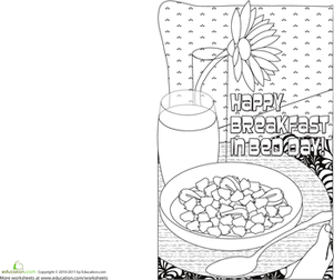 First Grade Holidays & Seasons Worksheets: Make a Card for Mom: Breakfast in Bed