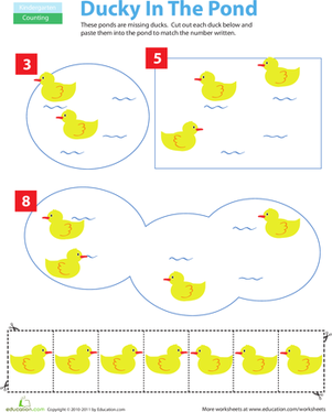 math worksheet : cut and paste counting ducks  worksheet  education  : Kindergarten Worksheets Cut And Paste