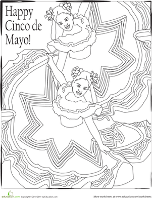 Kindergarten Holidays & Seasons Worksheets: Cinco de Mayo Coloring Page