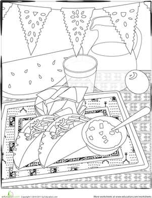 Second Grade Holidays & Seasons Worksheets: Color a Cinco de Mayo Fiesta