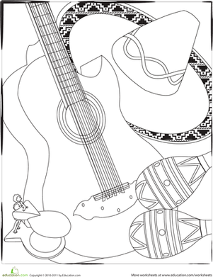First Grade Holidays Worksheets: Color the Cinco de Mayo Instruments