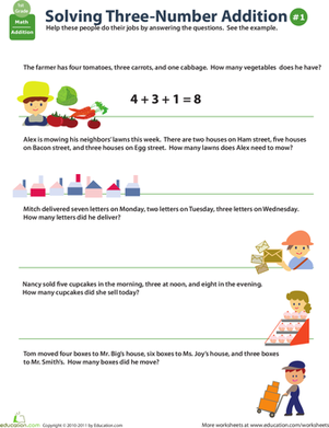 First Grade Math Worksheets: Add Three Numbers Word Problems