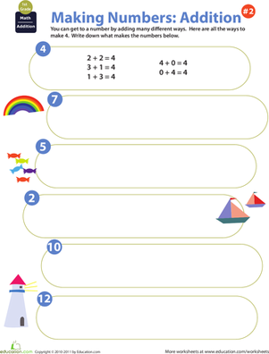 First Grade Math Worksheets: Making Numbers: Addition #2