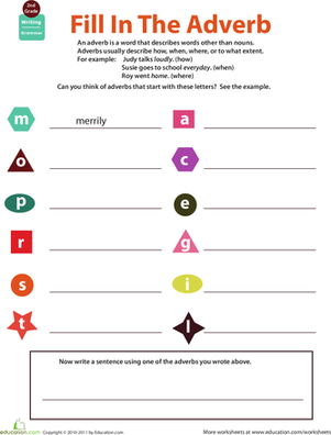 All about adverbs worksheet education com
